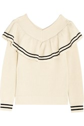 Self Portrait Off The Shoulder Ruffled Ribbed Wool Blend Sweater Ivory