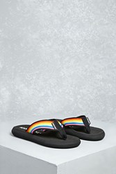 Forever 21 Rocket Dog Rainbow Flip Flops Black Multi
