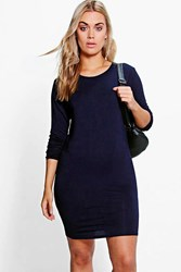 Boohoo Macie 3 4 Sleeve Bodycon Dress Navy