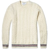 Thom Browne Donegal Tricolour Trim Cable Crew Knit Natural White