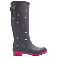 Joules Printed Waterproof Rubber Wellington Boots Grey Spot