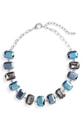 Nordstrom Women's Crystal Collar Necklace Blue Multi Rhodium