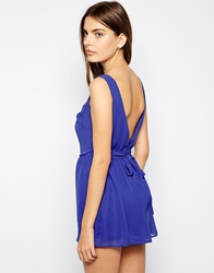 Lashes Of London Chiffon Playsuit With Bow Back Cobaltblue