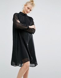 Monki Glitter Spot Smock Dress Black