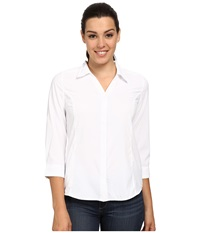 Royal Robbins Expedition Stretch 3 4 Sleeve White Women's Long Sleeve Button Up