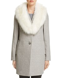 T Tahari Olivia Faux Fur Trim Coat Heather Grey