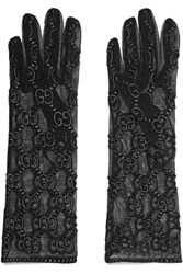 Gucci Embroidered Tulle Gloves Black