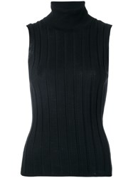 Allude Roll Neck Striped Sleeveless Top Black