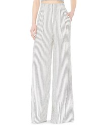 Alice Olivia Eloise High Waist Striped Wide Leg Pants Black White Multi Colors