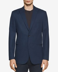 Calvin Klein Men's Classic Fit Textured Sport Coat Dress Blue