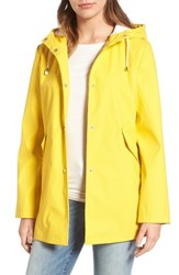 French Connection Women's Side Zip Hem Hooded Slicker Yellow