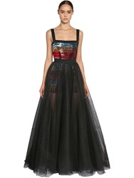 Elie Saab Sequin Embellished Tulle Dress Multicolor