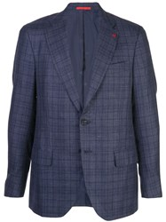 Isaia Classic Checked Blazer Blue