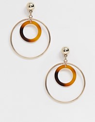 Missguided Multi Hoop Drop Earrings In Gold And Tortoiseshell