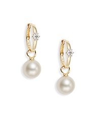 Saks Fifth Avenue 8 8.5Mm Cultured White Pearl Diamond And 14K Yellow Gold Drop Earrings Gold Pearl