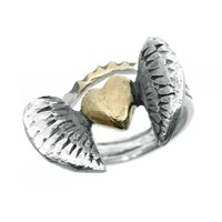 Peculiar Vintage Jewellery Curio Wing Crown Heart Ring Silver