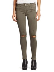 Hudson Nico Camo Skinny Jeans Loden Green Distructed