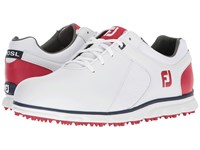 Footjoy Pro Sl Spikeless Plain Toe Rover White Red Navy Trim Golf Shoes