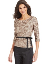 Alex Evenings Three Quarter Sleeve Sequined Lace Top Champagne
