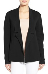 Women's Eileen Fisher Silk And Organic Cotton Knit Notch Collar Jacket Black