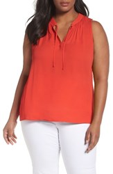 Sejour Plus Size Women's Tie Neck Shell Red Fiery