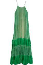 Stella Mccartney Lace Paneled Printed Silk Blend Georgette Gown Green