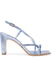By Far Carrie Metallic Leather Slingback Sandals Blue Gbp