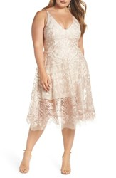 Xscape Evenings Plus Size Embroidered Fit And Flare Dress Blush