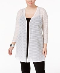 Alfani Plus Size Sheer Stripe Duster Cardigan Only At Macy's Bright White