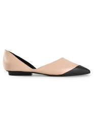 Narciso Rodriguez Contrasting Toe Cap Ballerinas Nude And Neutrals