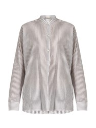 Vince Stand Collar Striped Cotton Shirt White Stripe