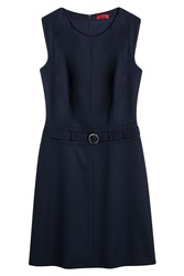 Hugo Stretch Wool Sleeveless Dress Blue