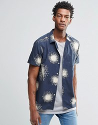 Ymc Printed Short Sleeve Shirt Navy