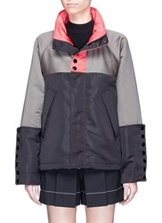 Alexander Wang Oversized Colourblock Satin Hooded Windbreaker Multi Colour