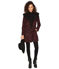 Bb Dakota Elanora Floral Jacquard Coat W Sherpa Collar Black Women's Coat