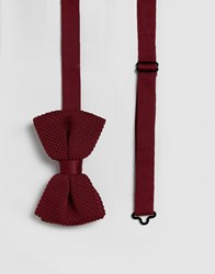 Asos Design Knitted Bow Tie In Burgundy Red