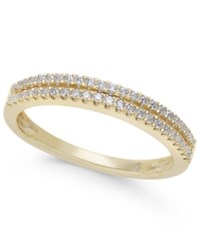 Macy's Diamond Double Row Band In 1 4 Ct. T.W. In 14K White Yellow Or Rose Gold Yellow Gold