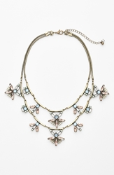 Robert Rose Stone Cluster Tiered Statement Necklace Peach Brass Ox
