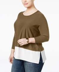 Styleandco. Style Co. Plus Size Layered Look Sweater Only At Macy's Salty Nut