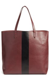 Madewell Paint Stripe Transport Leather Tote Red Dark Cabernet Stripe