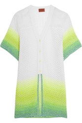 Missoni Organza Paneled Crochet Knit Cardigan White