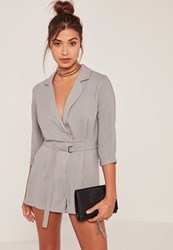Missguided Grey Wrap Blazer Playsuit