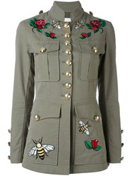 Ash Embroidered Patch Military Jacket Women Cotton Nylon 12 36 Green