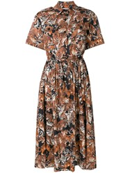 Paul And Joe Tiger Print Shirt Dress Brown