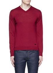 Armani Collezioni V Neck Wool Sweater Red