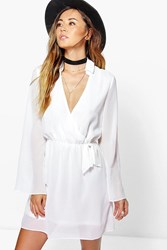 Boohoo Wrap Sleevless Shirt Dress Cream
