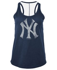 5Th And Ocean Women's New York Yankees Foil Tank Navy
