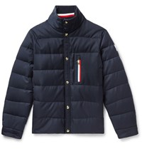 Moncler Gamme Bleu Wool Canvas Quilted Down Jacket Navy