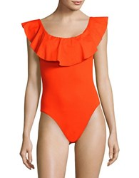 Trina Turk Solid Ruffle One Piece Flame