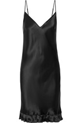 Maggie Marilyn Ruffle Trimmed Silk Satin Dress Black